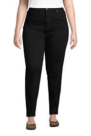 Women's Plus Size High Rise Straight Leg Stretch Jeans - Black