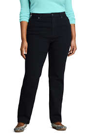 Women's Plus Size High Rise Straight Leg Jeans - Black