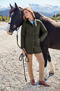 Women's Insulated Quilted Barn Coat, Unknown