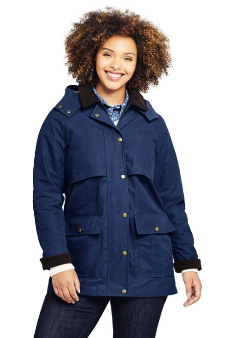 Women's Plus Size Waxed Cotton Field Jacket