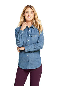 Women's Petite Denim Stripe Shirt