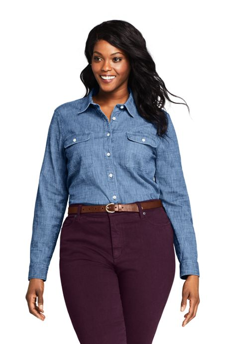 Women's Plus Size Denim Stripe Shirt