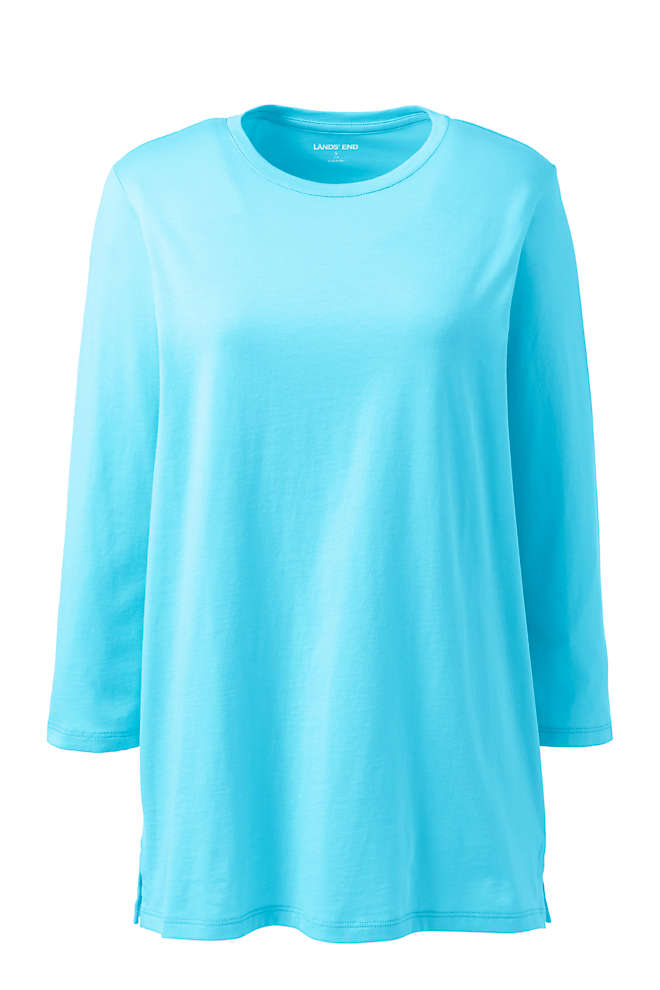 Women's Plus Size 3/4 Sleeve Cotton Supima Crewneck Tunic, Front