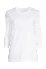 Women's Petite 3/4 Sleeve Supima Cotton Crew Neck Tunic