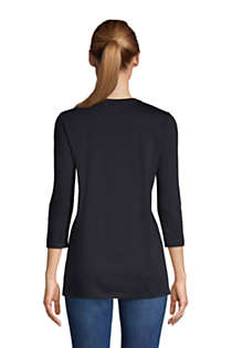 Women's Petite 3/4 Sleeve Supima Cotton Crewneck Tunic, Back