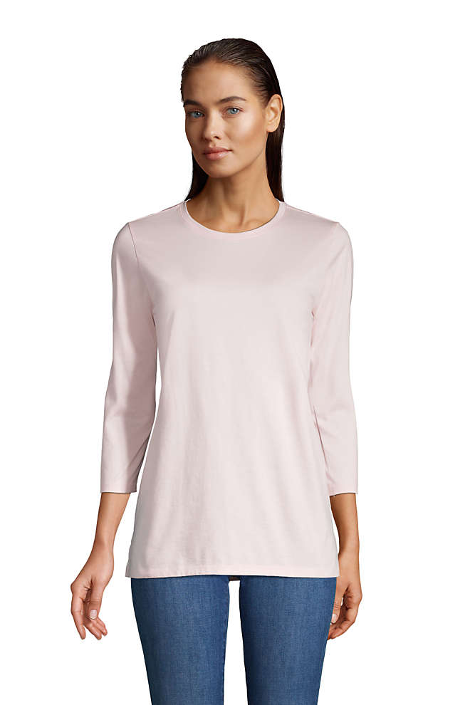 Women's 3/4 Sleeve Supima Cotton Crewneck Tunic, Front