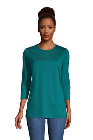 Women's Petite 3/4 Sleeve Supima Cotton Crewneck Tunic