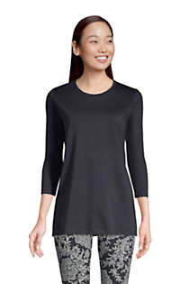 Women's Petite 3/4 Sleeve Supima Cotton Crewneck Tunic, Front