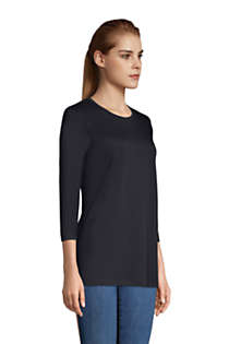 Women's Petite 3/4 Sleeve Supima Cotton Crewneck Tunic, Unknown
