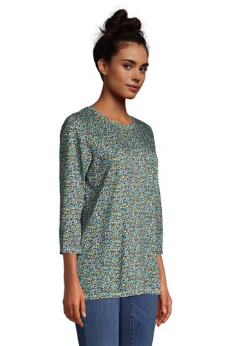 Women's 3/4 Sleeve Supima Cotton Crewneck Tunic