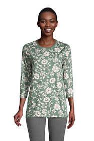 Women's Petite 3/4 Sleeve Supima Cotton Crewneck Tunic