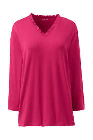 Women's Plus Size Ruffle V-neck 3/4 Sleeve Top