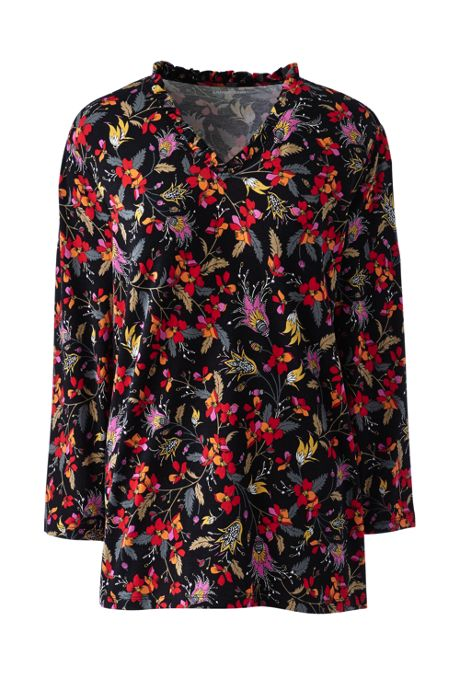 Women's Plus Size Ruffle V-neck 3/4 Sleeve Top Floral