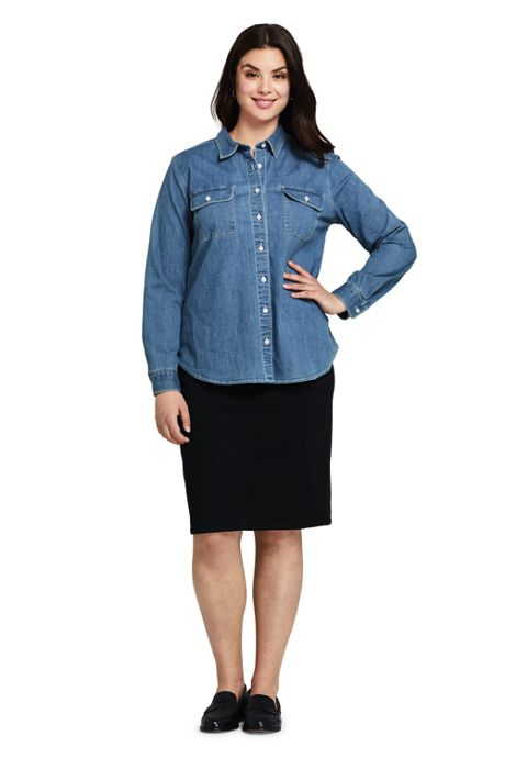 Women's Plus Size Black Denim Pull On Pencil Skirt