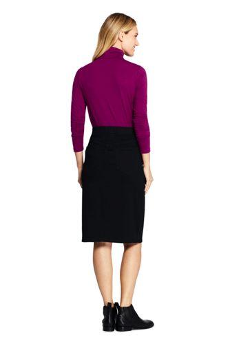 Women's Black Denim Pull On Pencil Skirt