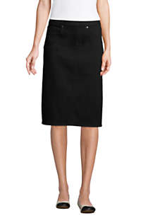 Women's Black Denim Pull On Pencil Skirt, Front