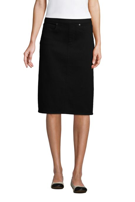 Women's Petite Black Denim Pull On Pencil Skirt