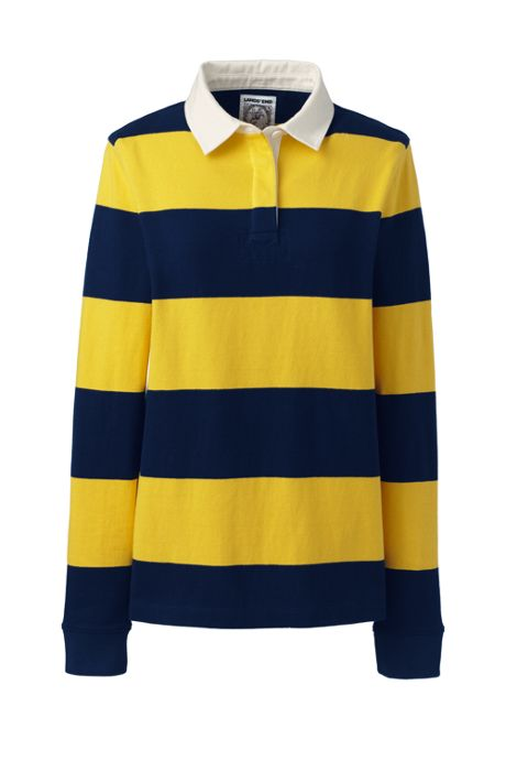 Women's Long Sleeve Polo Rugby Shirt Stripe