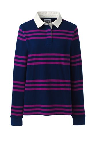 Women's Long Sleeve Polo Rugby Shirt Stripe by Lands' End