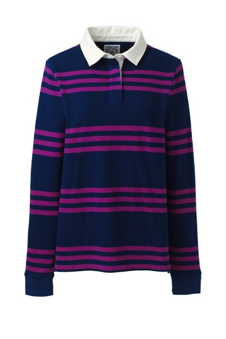 Women's Petite Long Sleeve Polo Rugby Shirt Stripe