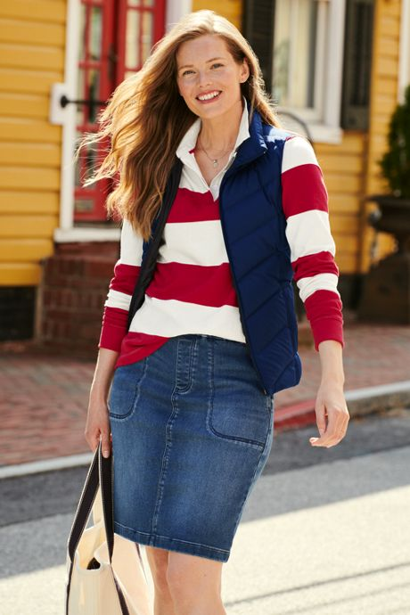 Women's Tall Long Sleeve Polo Rugby Shirt Stripe