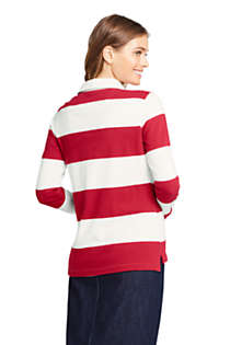 Women's Tall Long Sleeve Polo Rugby Shirt Stripe, Back