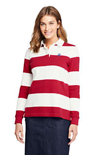 Women's Tall Long Sleeve Polo Rugby Shirt Stripe, Front