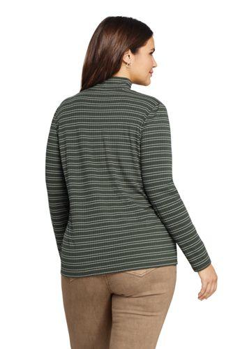Women's Plus Size Ribbed Long Sleeve Mock Turtleneck Stripe