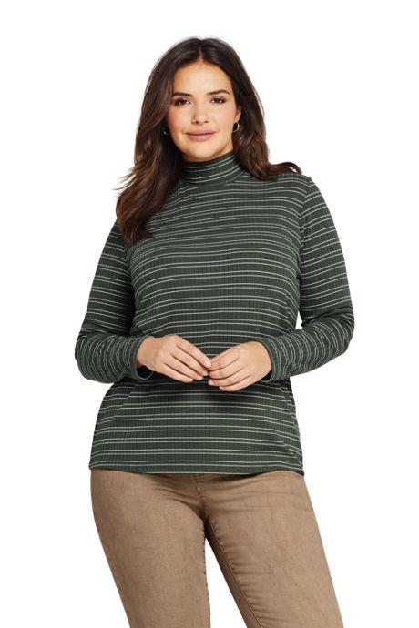 Women's Plus Size Ribbed Long Sleeve Turtleneck Stripe