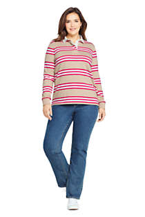 Women's Plus Size Long Sleeve Polo Rugby Shirt Stripe, alternative image