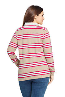Women's Plus Size Long Sleeve Polo Rugby Shirt Stripe, Back