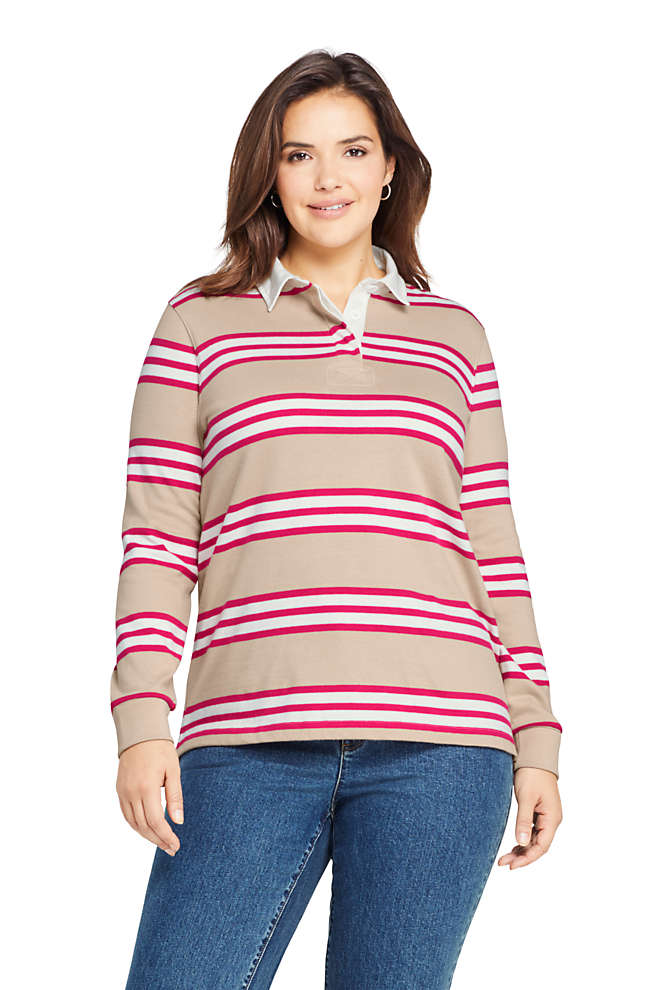 Women's Plus Size Long Sleeve Polo Rugby Shirt Stripe, Front