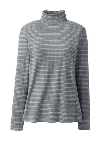 Women's Plus Long Sleeve Stripe Jersey Rib Polo Neck