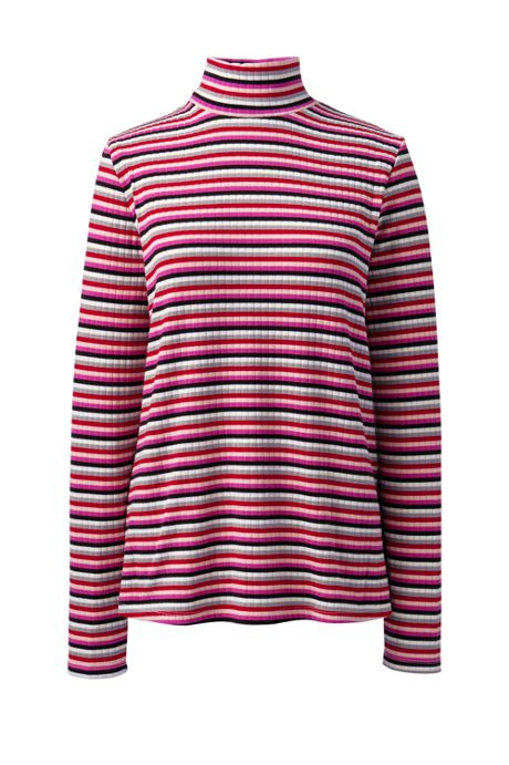 Women's Petite Long Sleeve Stripe Ribbed Mock Turtleneck