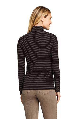 Women's Petite Long Sleeve Stripe Ribbed Mock Turtleneck