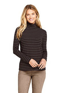 Women's Long Sleeve Stripe Jersey Rib Polo Neck