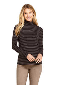 Women's Tall Long Sleeve Stripe Ribbed Mock Turtleneck