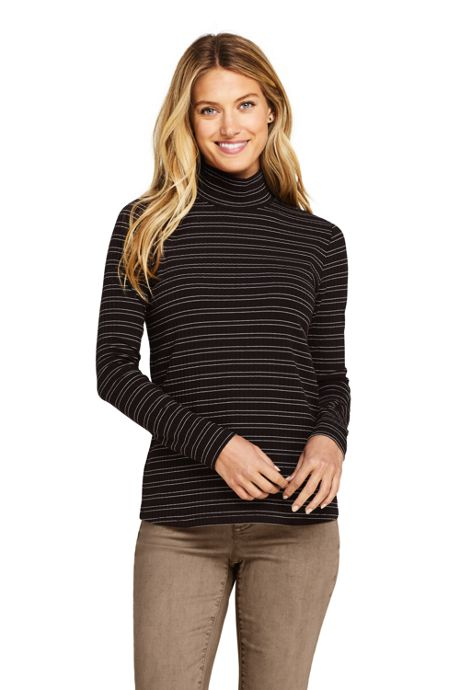Women's Long Sleeve Stripe Ribbed Mock Turtleneck