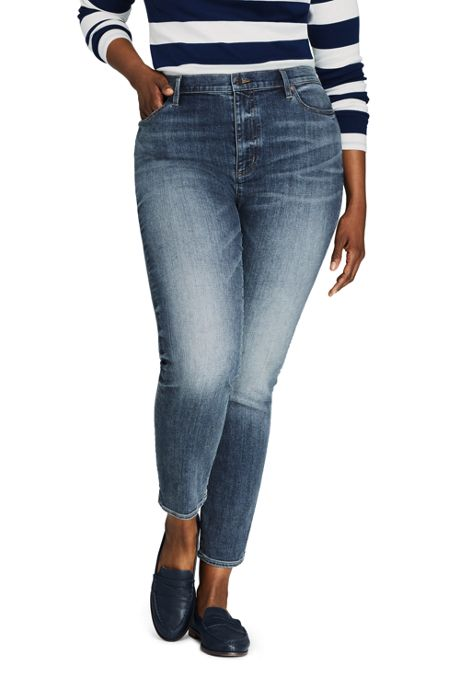 Women's Plus Size Water Conserve Eco Friendly High Rise Slim Straight Leg Ankle Jeans - Blue