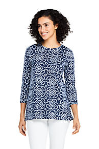 65cf7307a8 Women's 3/4 Sleeve Print Cotton Supima Crew Neck Tunic