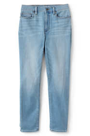 Women's Petite Water Conserve Eco Friendly High Rise Slim Straight Leg Ankle Jeans - Blue