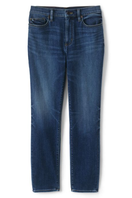Women's Water Conserve Eco Friendly High Rise Slim Straight Leg Ankle Jeans - Blue
