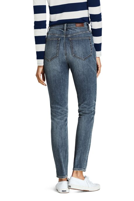 Women's Petite Water Conserve Eco Friendly High Rise Straight Leg Ankle Jeans - Blue