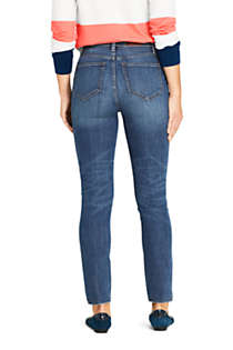 Women's Water Conserve Eco Friendly High Rise Slim Straight Leg Ankle Jeans - Blue, Back