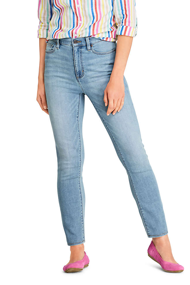 Women's Water Conserve Eco Friendly High Rise Slim Straight Leg Ankle Jeans - Blue, Front