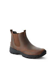 School Uniform Men's Wide Width All Weather Leather Slip On Chelsea Boots