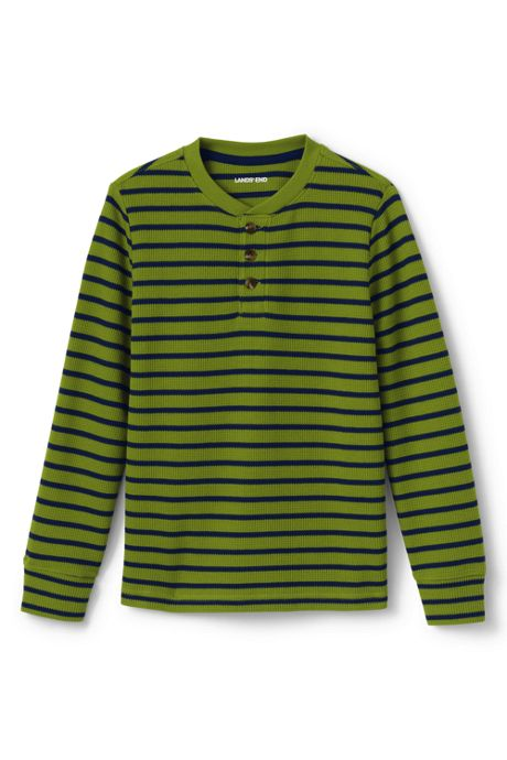 Boys Husky Stripe Thermal Henley Shirt