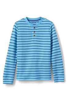 T-Shirt Henley Thermique Gaufré à Rayures et Manches Longues, Garçon