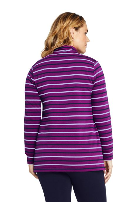 Women's Plus Size Serious Sweats Quarter Zip Long Sleeve Tunic Sweatshirt Stripe