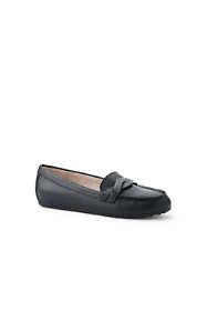 Women's Wide Width Comfort Leather Slip On Loafer Shoes